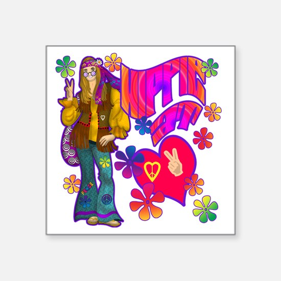 "HIPPIE-AT-HEART-TEE Square Sticker 3"" x 3"""
