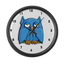 Clock large Aqua Owl Large Wall Clock