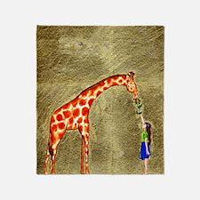 The Giraffe and the Girl Throw Blanket