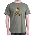 Rainbow Pride Ribbon Dark T-Shirt