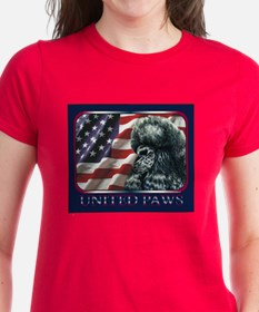 Black Poodle US Flag Patriotic Womens Dark T-Shirt
