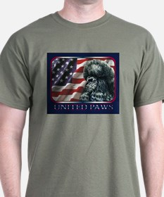 Black Poodle Flag Patriotic Dark Colored T-Shirt