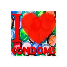 """ilove_CONDOMS_redheart Square Sticker 3"""" x 3"""""""
