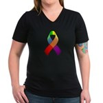 Rainbow Pride II Ribbon Women's V-Neck Dark T-Shir