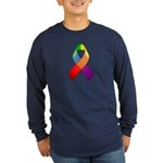 Rainbow Pride II Ribbon Long Sleeve Dark T-Shirt
