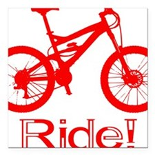 "MTB-Ride-Red Square Car Magnet 3"" x 3"""