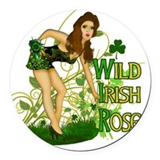 WILD-IRISH-ROSE-TEE Round Car Magnet