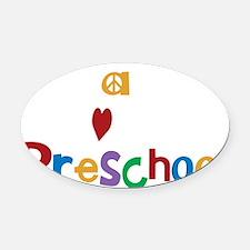 Peace Love Preschool Oval Car Magnet