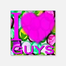 "ilove_GUYS_PINK Square Sticker 3"" x 3"""