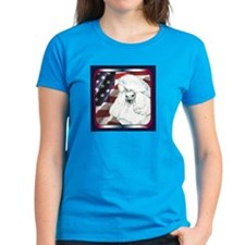 White Poodle US Flag Patriotic Womens Dark T-Shirt
