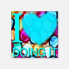 "ilove_DOINGIT_skyblue Square Sticker 3"" x 3"""