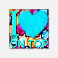 "ilove_OnTop_skyblue Square Sticker 3"" x 3"""