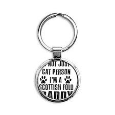 Scottish Fold Round Keychain