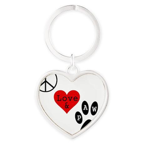 peacelovepaws1 Heart Keychain