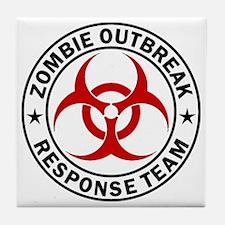 zombie-outbreak-white Tile Coaster