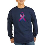Bi Pride Ribbon Long Sleeve Dark T-Shirt