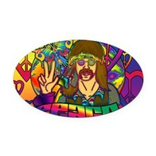 PSYCHEDELIC-PEACE-banner Oval Car Magnet