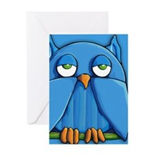 Note Aqua Owl aqua Greeting Card