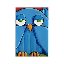 Note Aqua Owl red Rectangle Magnet