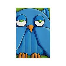Note Aqua Owl green Rectangle Magnet