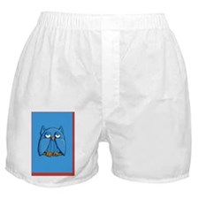 Card Aqua Owl aqua red Boxer Shorts