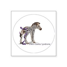 "zebra with ribbon Oval Square Sticker 3"" x 3"""