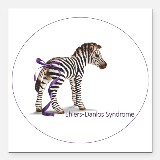 "zebra with ribbon Oval Square Car Magnet 3"" x 3"""
