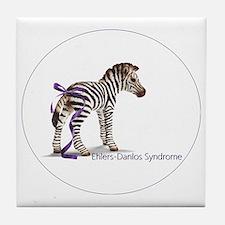 zebra with ribbon Oval Tile Coaster