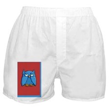 Card Aqua Owl red aqua Boxer Shorts