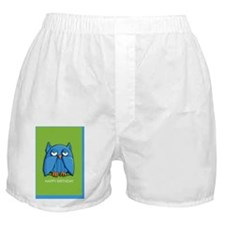Card Aqua Owl green birthday Boxer Shorts