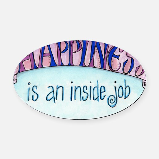 Happiness Oval Car Magnet