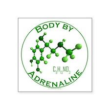"body by adrenaline Square Sticker 3"" x 3"""