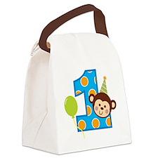 BoyPartyMonkey1stBirthdayV2 Canvas Lunch Bag