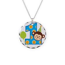 BoyPartyMonkey1stBirthdayV2 Necklace Circle Charm