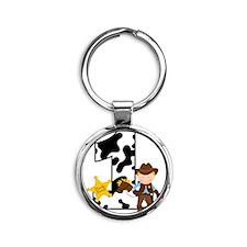 Cowboy1stBirthday Round Keychain