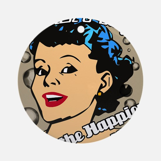 HAPPIER-HOUSEWIFE-9X12-framed-print Round Ornament
