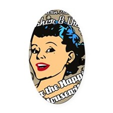 HAPPIER-HOUSEWIFE-9X12-framed-prin Oval Car Magnet