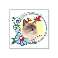 """Ragdoll, Butterflies and Wi Square Sticker 3"""" x 3"""""""