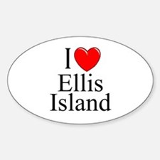 """I Love Ellis Island"" Oval Decal"