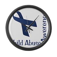 Child_abuse_Awareness_wht Large Wall Clock