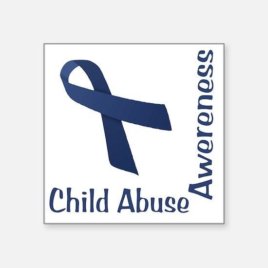 "Child_abuse_Awareness_wht Square Sticker 3"" x 3"""