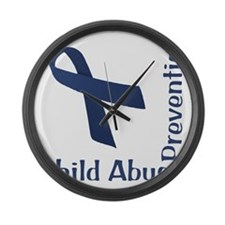 Child_Abuse_Prevention_wht Large Wall Clock