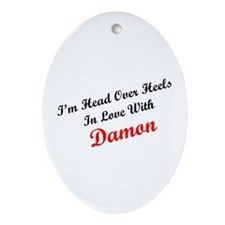 In Love with Damon Oval Ornament