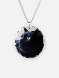Black Cat In Profile Necklace