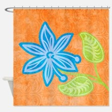 duvetQueenBlueFlower Shower Curtain
