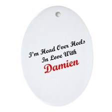 In Love with Damien Oval Ornament