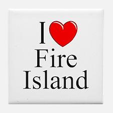"""""""I Love Fire Island"""" Tile Coaster"""