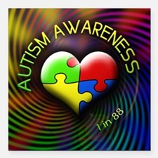 "autismawareness-1in88-ro Square Car Magnet 3"" x 3"""