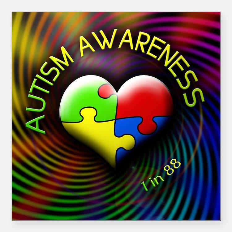 """autismawareness-1in88-ro Square Car Magnet 3"""" x 3"""""""
