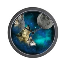 New Wolfs family moon 2 BG Wall Clock